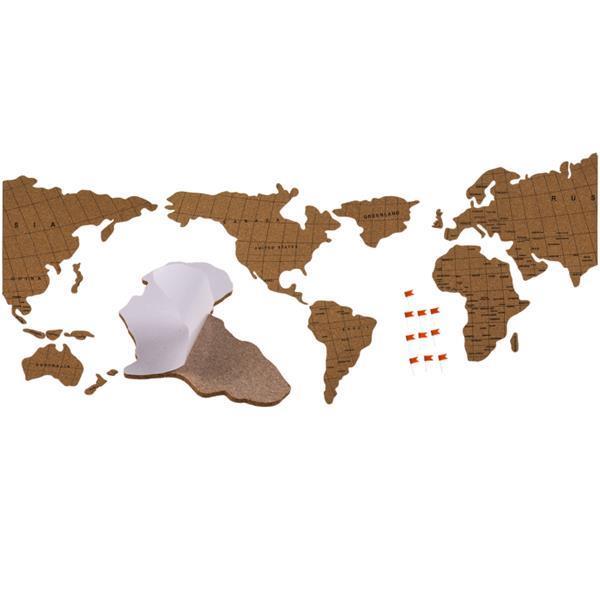 Παγκόσμιος χάρτης-πίνακας διακοσμητικός από φελλό 100x45εκ.