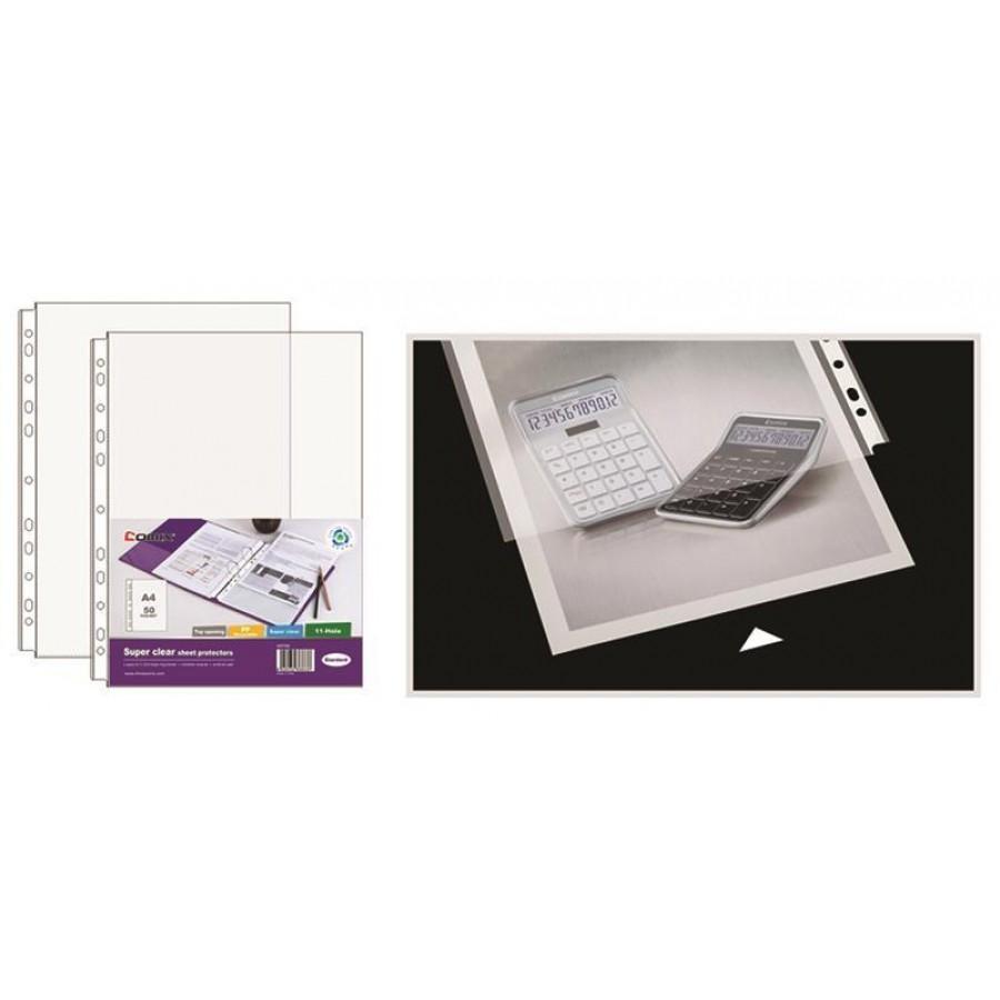 Comix ζελατίνες πολύτρυπες πάχος 0,08mm. Α4 διάφανη 50τεμ.  ΖΕΛΑΤΙΝΕΣ