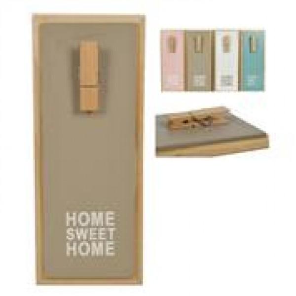 """Κλιπ σημειώσεων """"Home"""" ξύλινο σε 3 χρώματα Υ30x12εκ."""